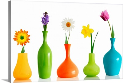 Spring Flowers in Colorful Vases