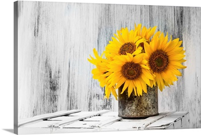 Sunflowers On A Wooden Crate