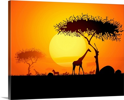 Sunset in Africa, with Silhouetted Animals and Trees