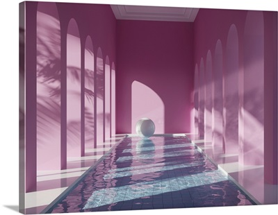 Swimming Pool In Hall With Columns