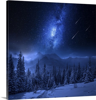 Tatras Mountains In Winter At Night With Falling Stars, Poland