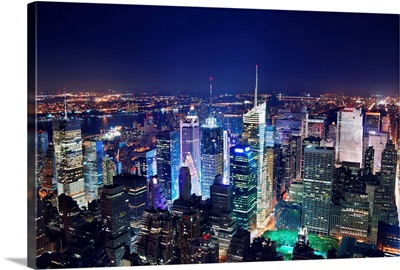 Times Square aerial view at night, New York city