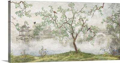 Tree With Birds In Japanese Garden