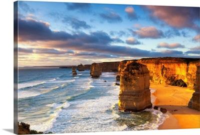Twelve Apostles at sunset.  Great Ocean Road, Victoria, Australia