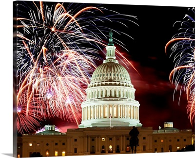 United States Capitol Building under a display of fireworks