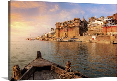 Varanasi Architecture At Sunset As Viewed From A Boat On The River Ganges