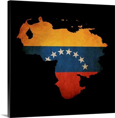 Venezuela And Flag On Black