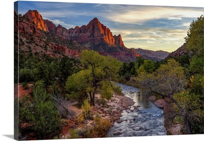 View Of The Watchman Mountain And The Virgin River In Zion National Park