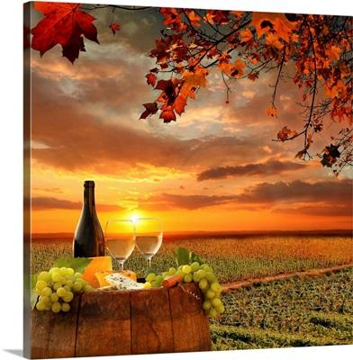 White wine on barrel in vineyard in Chianti, Tuscany, Italy