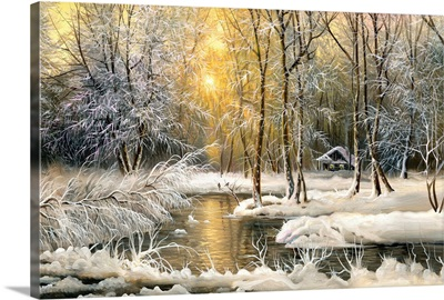 Winter Landscape with a Forest River