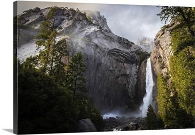 Winter Storm Descending On Yosemite Falls, Yosemite National Park, California