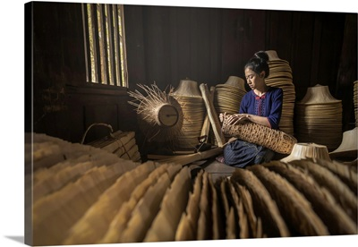 Young Women Are Weaving In Field Handmade Basket Of Thailand