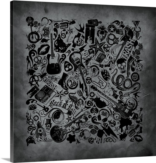 Assorted rock n roll icon pattern on gritty grey