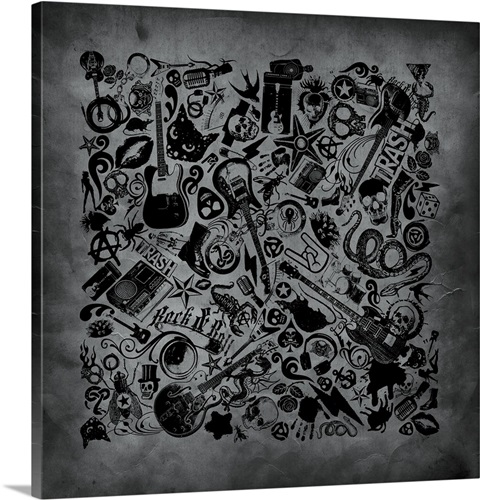 Assorted Rock N Roll Icon Pattern on Gritty Grey Background Wall Art ...