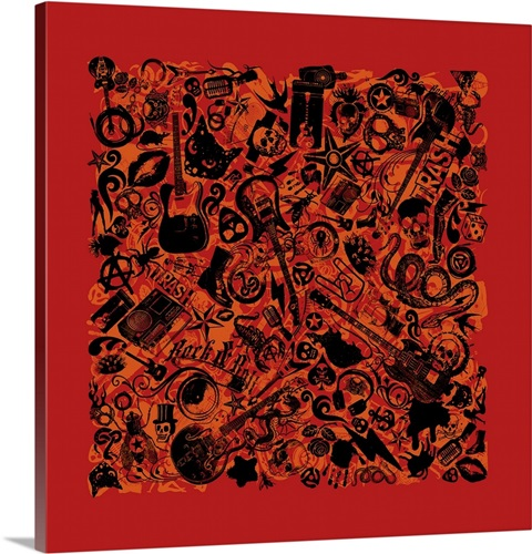 Assorted Rock N Roll Icon Pattern on Gritty Red Background Wall Art ...