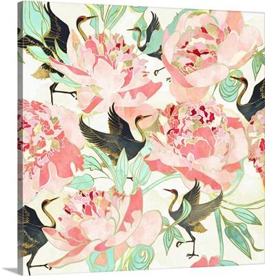 Floral Cranes