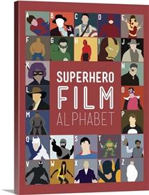 Superhero Film Alphabet, Minimalist Art Poster