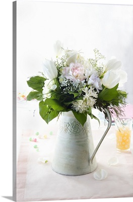 A jug of spring flowers