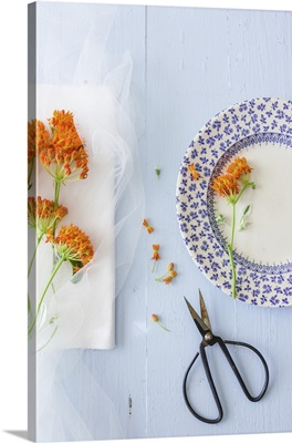 Fresh flowers for decorating plates