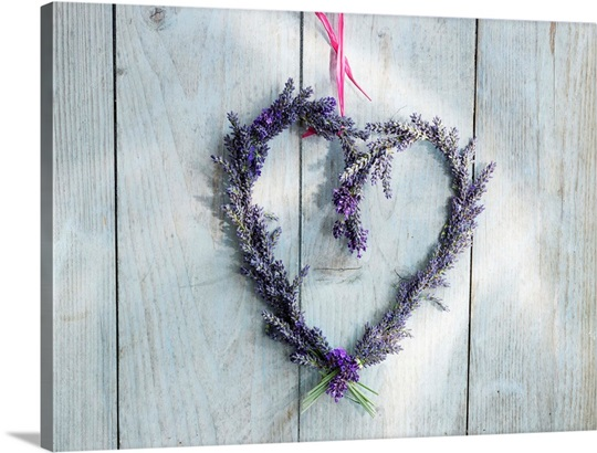 Lavender Wall Art heart-shaped lavender wreath hanging on a wooden wall wall art