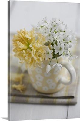 Posy of allium flowers and yellow hyacinth in mug