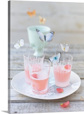 Rhubarb and poppy drink in three glasses