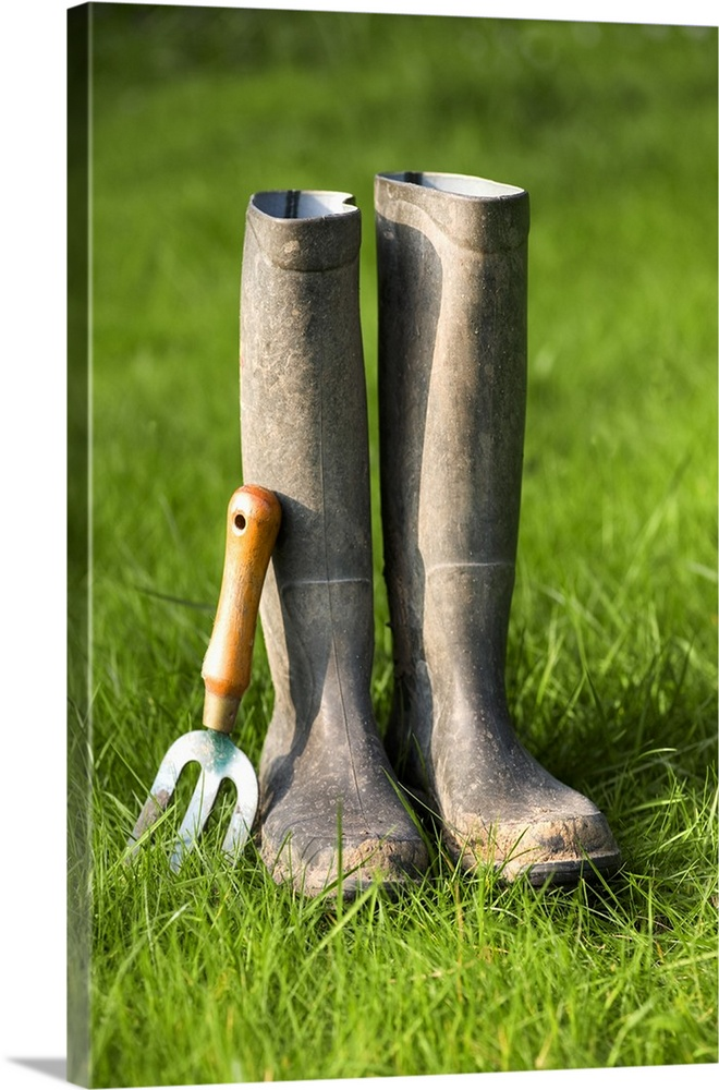 Rubber Boots And Garden Tool On Gr