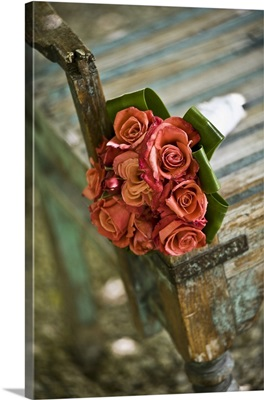 Simple bridal bouquet of red roses