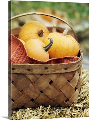Small pumpkins in a woven basket on straw