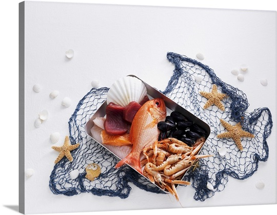 Still life with fish, seafood and fishing net Wall Art, Canvas ...