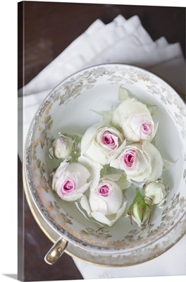 White roses in a cup of water