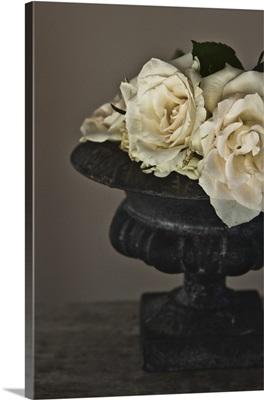 White roses in antique stone planter