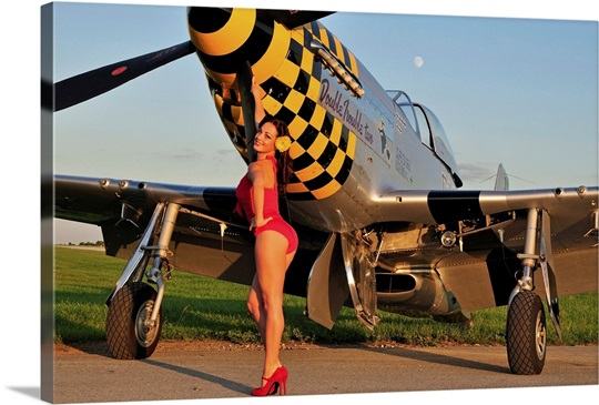 1940 39 s style pin up girl posing with a p 51 mustang wall art canvas prints framed prints wall. Black Bedroom Furniture Sets. Home Design Ideas