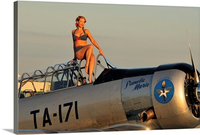 1940's style pin-up girl sitting on the cockpit of a World War II T-6 Texan