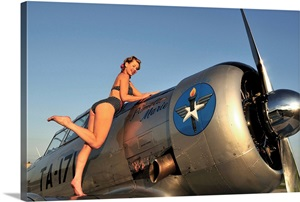 1940 S Style Pin Up Girl Standing On The Wing Of A World