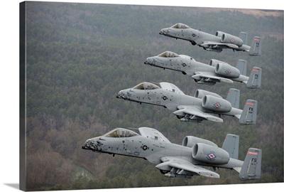 A-10 Thunderbolt II's flying over Razorback Range, Arkansas