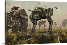 A 3D conceptual image where man uses machines on the battlefield