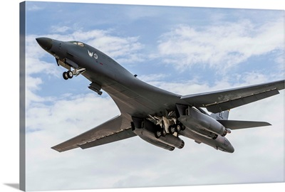 A B-1B Lancer of the U.S. Air Force taking off