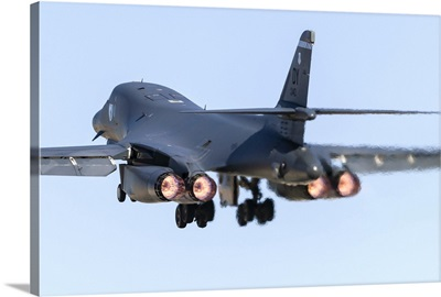 A B-1B Lancer of the US Air Force taking off from Nellis Air Force Base, Nevada