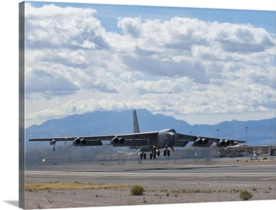 A B-52 Stratofortress takes off from Nellis Air Force Base
