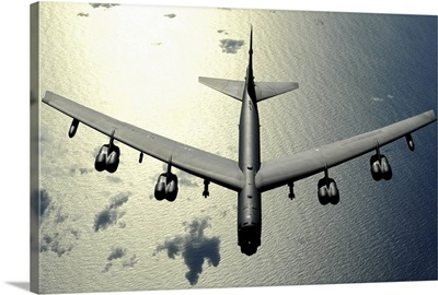A B52 Stratofortress in flight over the Pacific Ocean