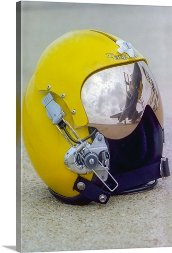 A Blue Angels pilot helmet with aircraft reflection in visor Wall ...