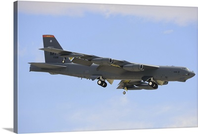 A Boeing B-52H Stratofortress prepares for landing