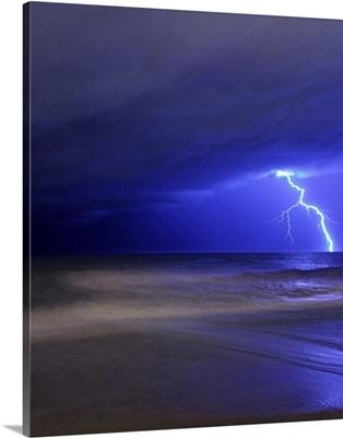 A bolt of lightning from an approaching storm in Miramar, Argentina