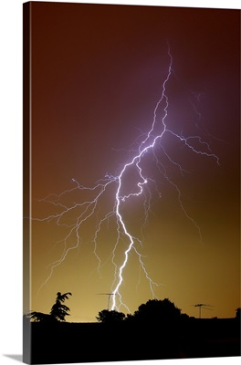 A bright bolt of lightning at the suburbs of Buenos Aires, Argentina