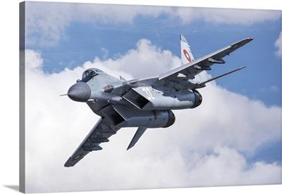 A Bulgarian Air Force MiG-29 maneuvering over Bulgarian air space