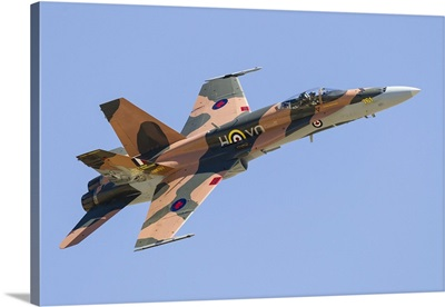 A CF-188 Hornet of the Royal Canadian Air Force in 70th anniversary markings