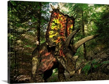 A colorful Pentaceratops wanders a Cretaceious forest