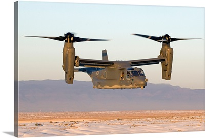 A CV-22 Osprey flies in helicopter mode