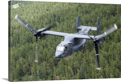 A CV-22 Osprey on a training mission over New Mexico
